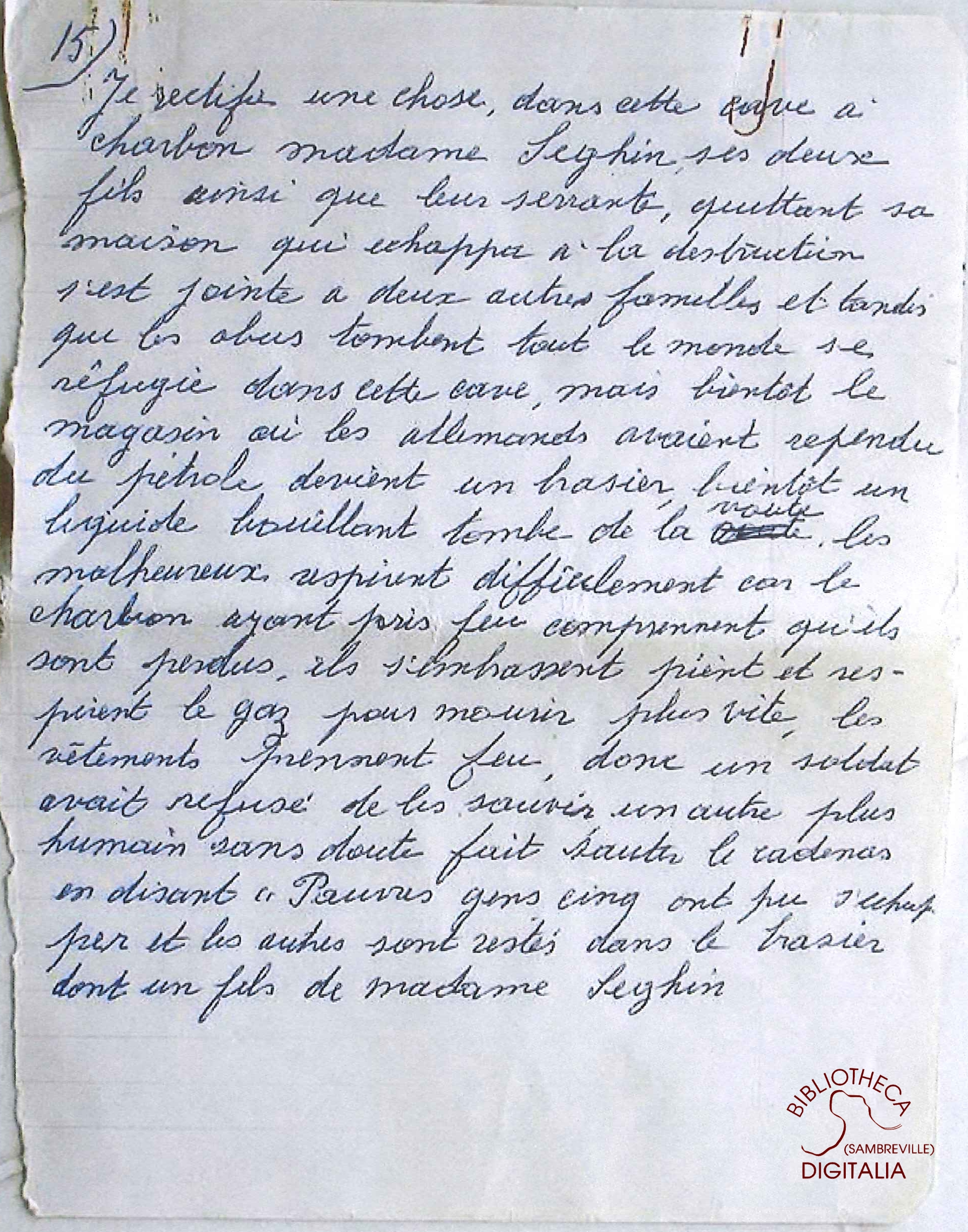 Témoignage manuscrit de Madame HENNION, survivante du massacre de Tamines, page 15