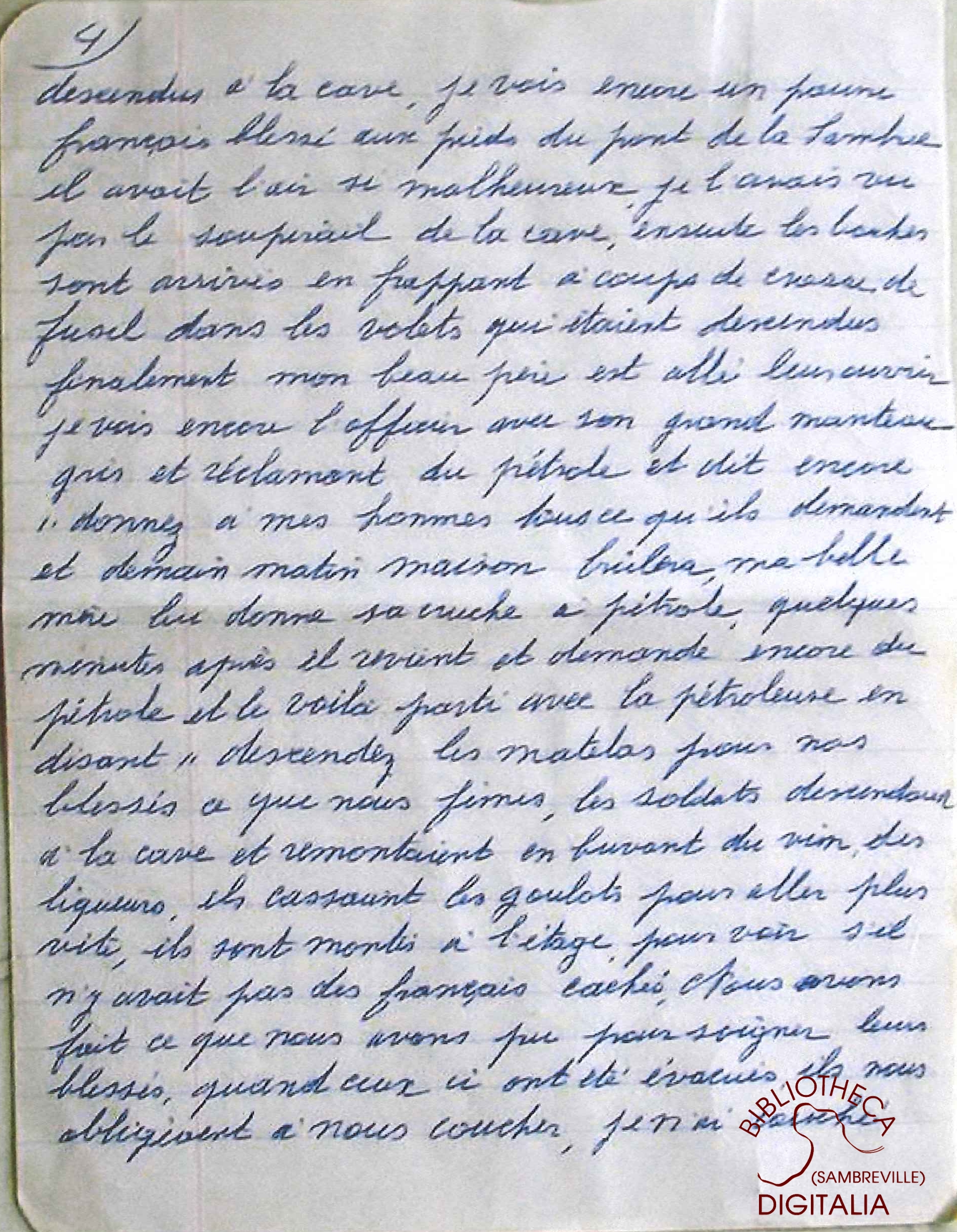 Témoignage manuscrit de Madame Hennion, survivante du massacre de Tamines, page 4