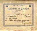 Diplôme de l'Académie de musique de Tamines au nom de AMELIN Roger
