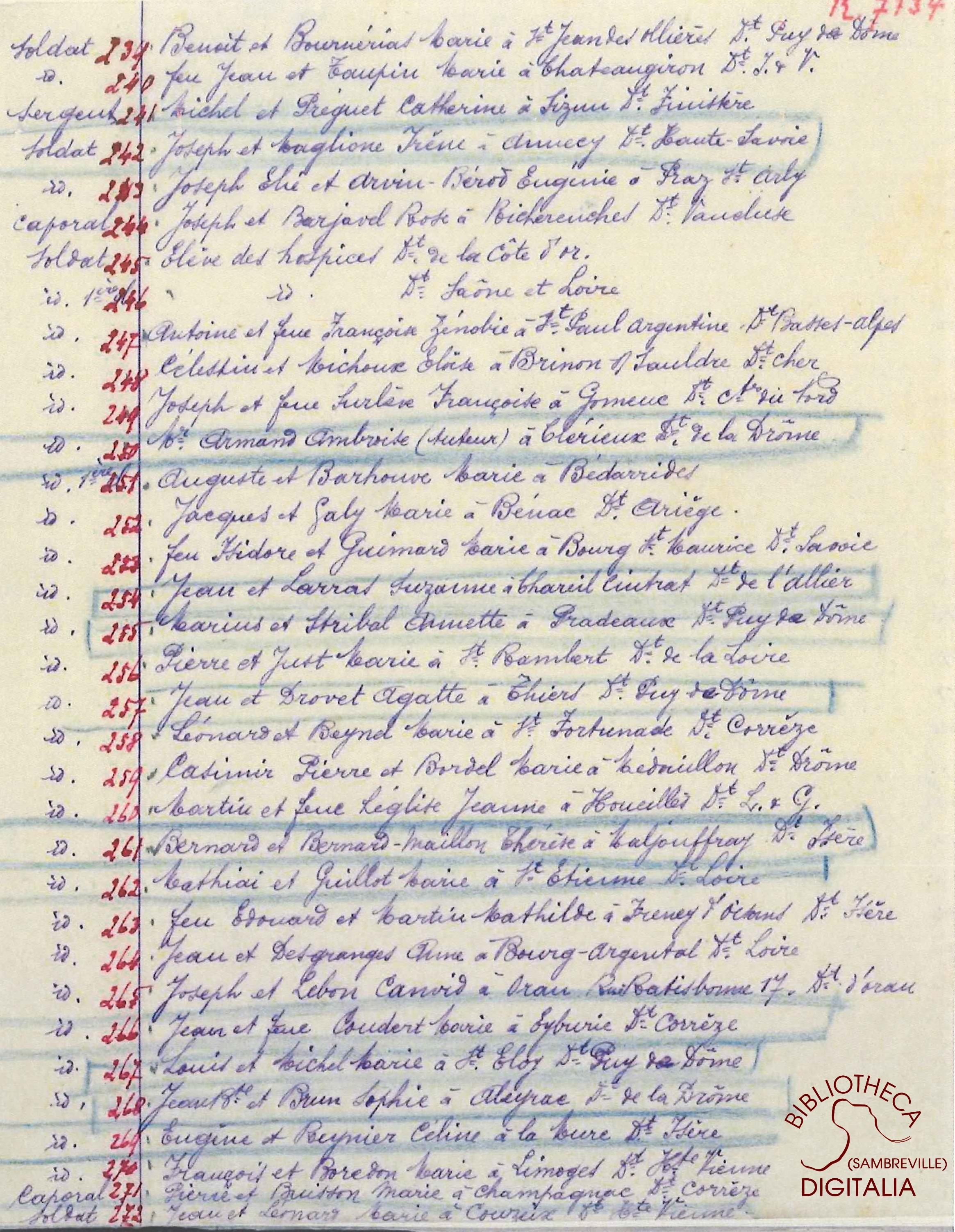 Liste des livrets militaires en dépôt à la mairie d'Auvelais, page 16
