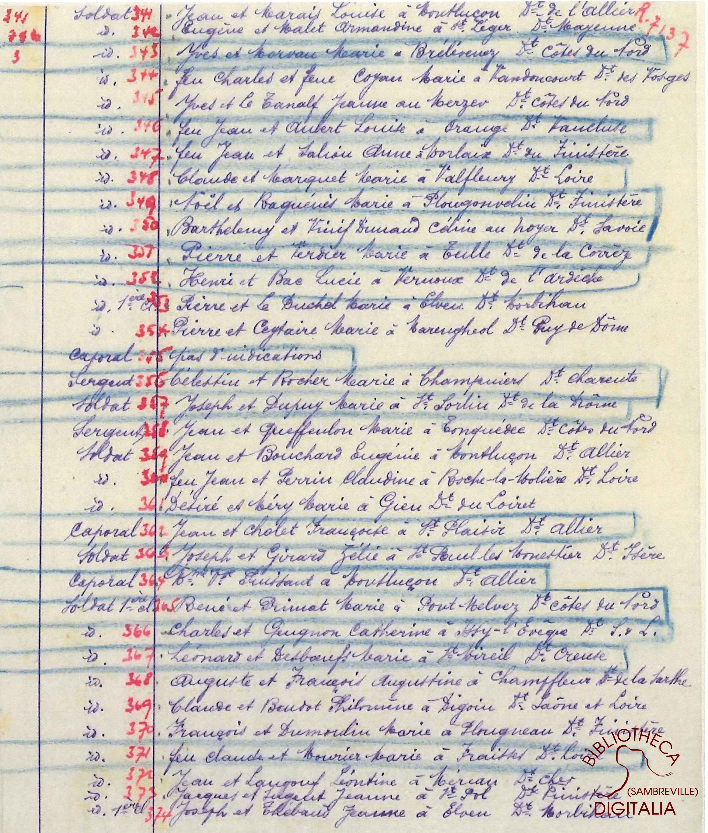Liste des livrets militaires en dépôt à la mairie d'Auvelais, page 22