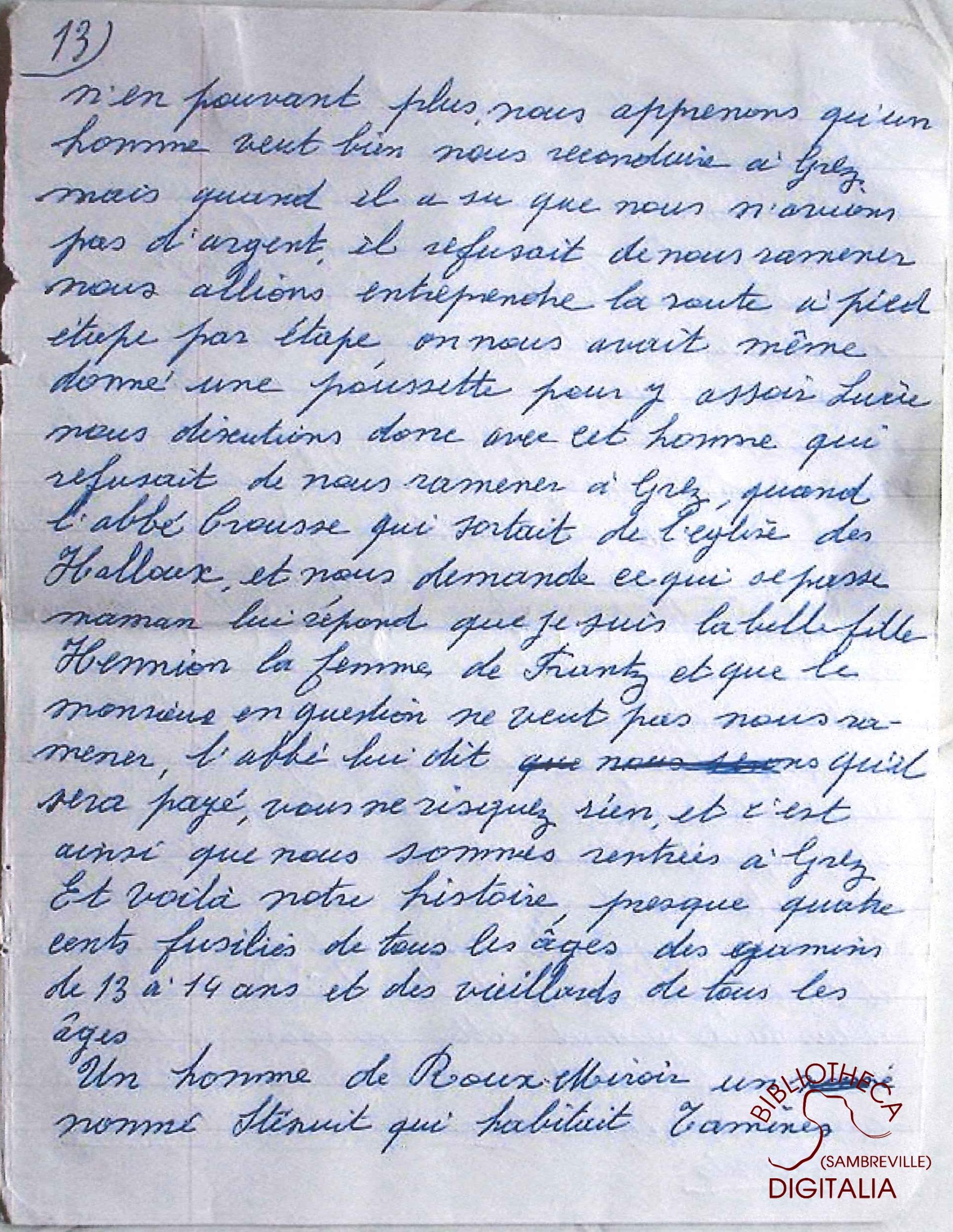 Témoignage manuscrit de Madame HENNION, survivante du massacre de Tamines, page 13