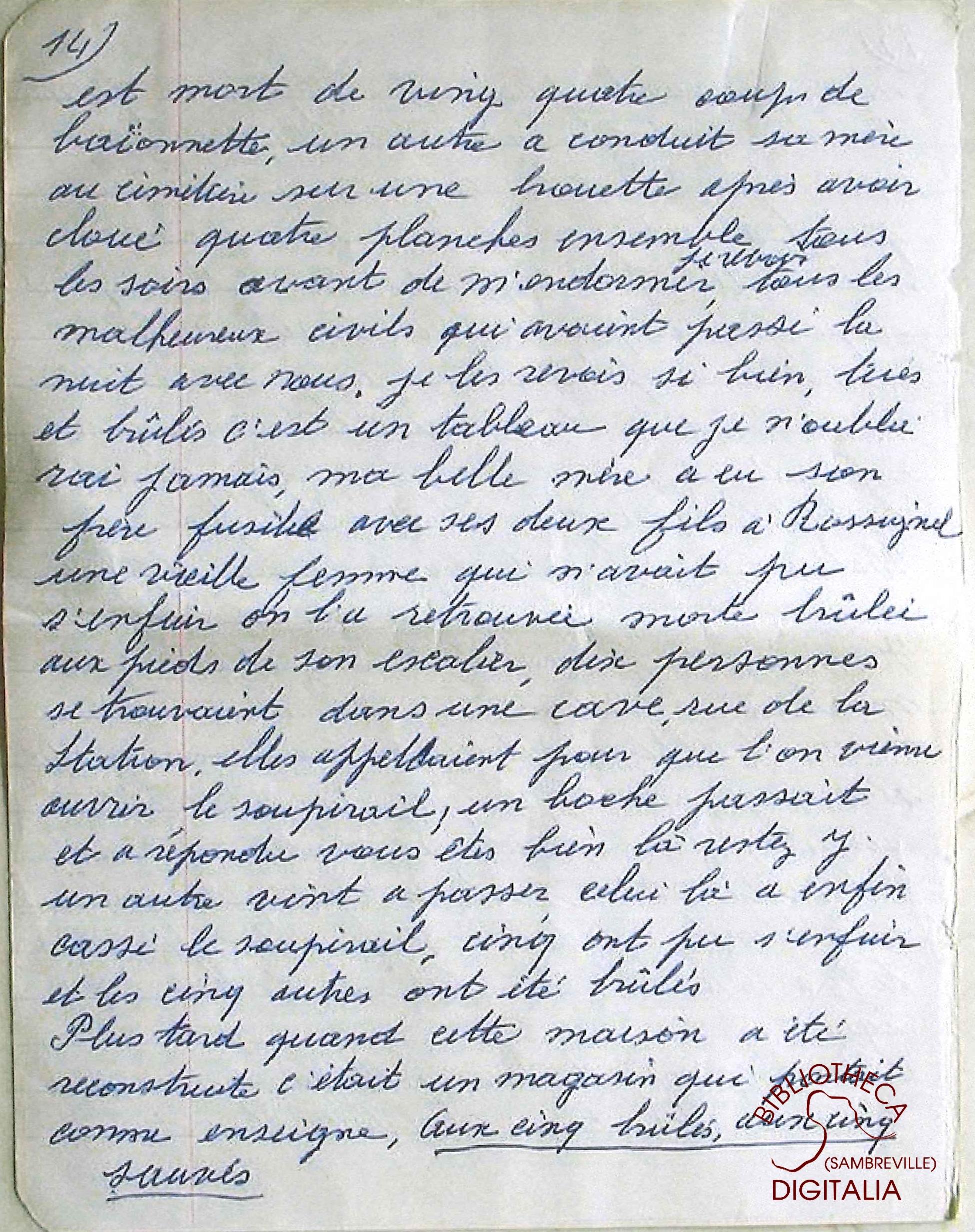 Témoignage manuscrit de Madame HENNION, survivante du massacre de Tamines, page 14