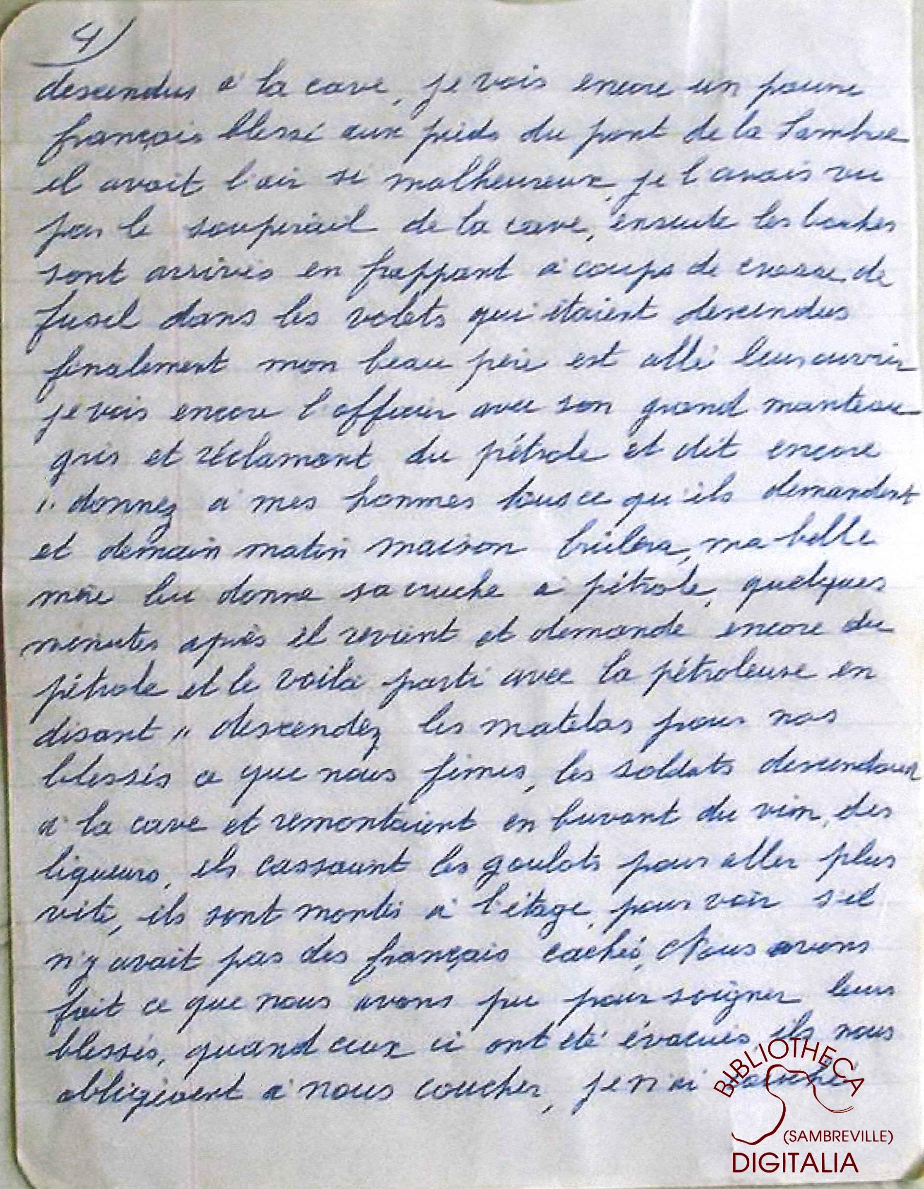 Témoignage manuscrit de Madame Hennion, survivante du massacre de Tamines, page 4