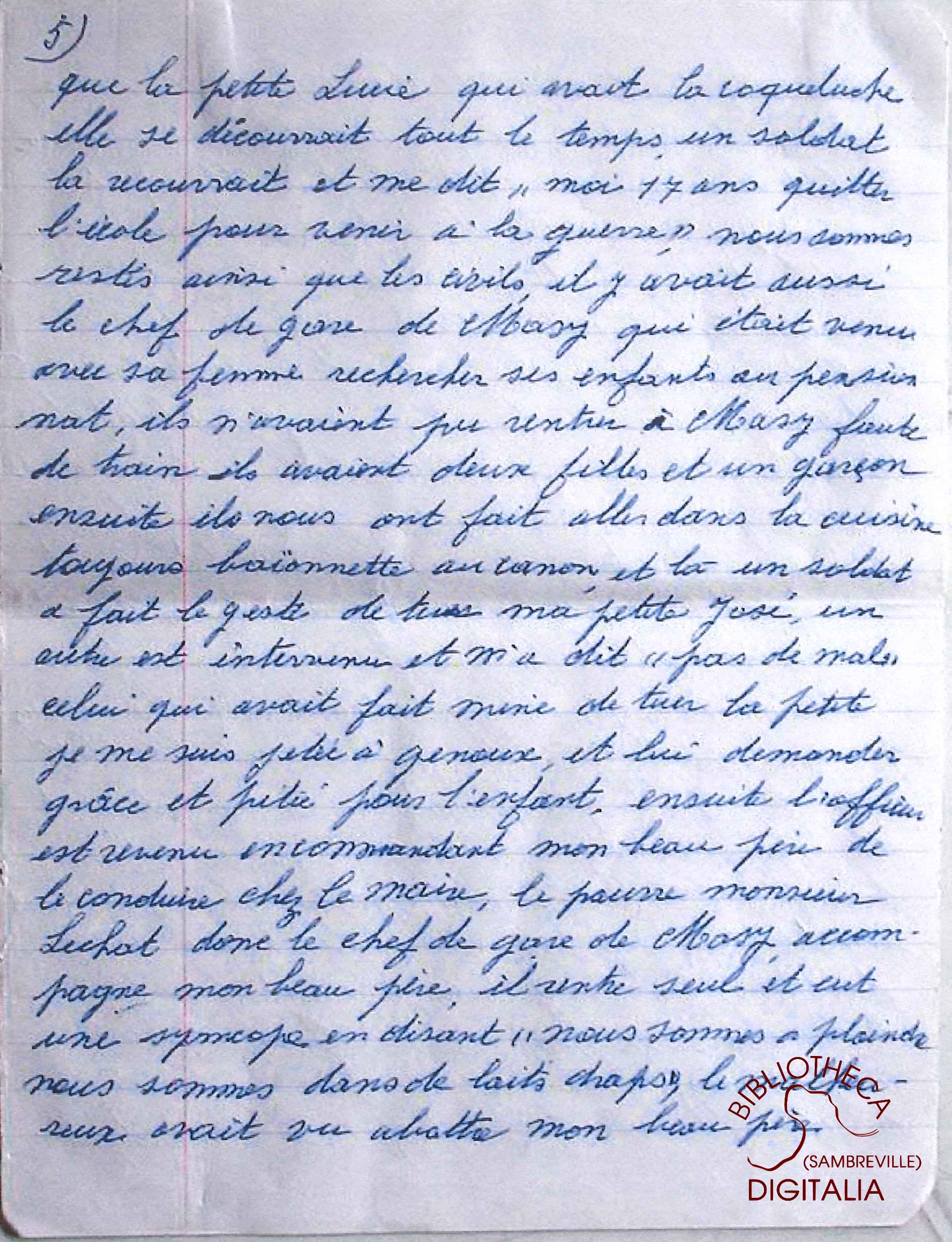 Témoignage manuscrit de Madame Hennion, survivante du massacre de Tamines, page 5