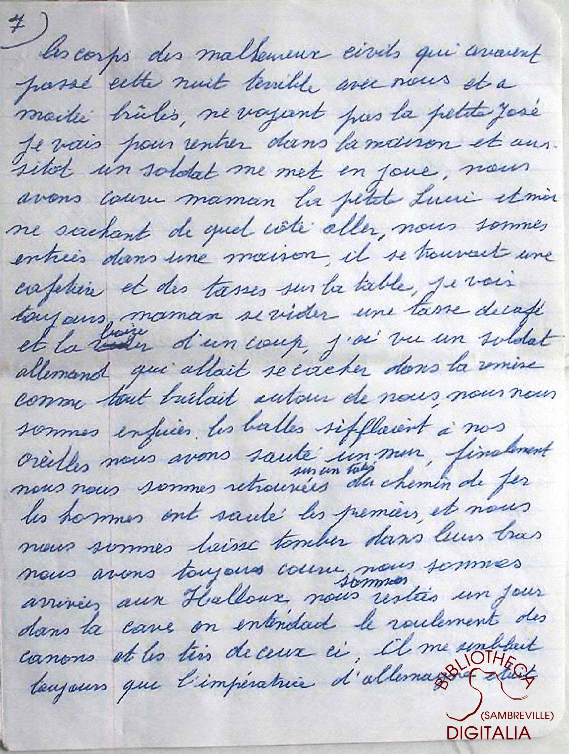 Témoignage manuscrit de Madame HENNION, survivante du massacre de Tamines, page 7
