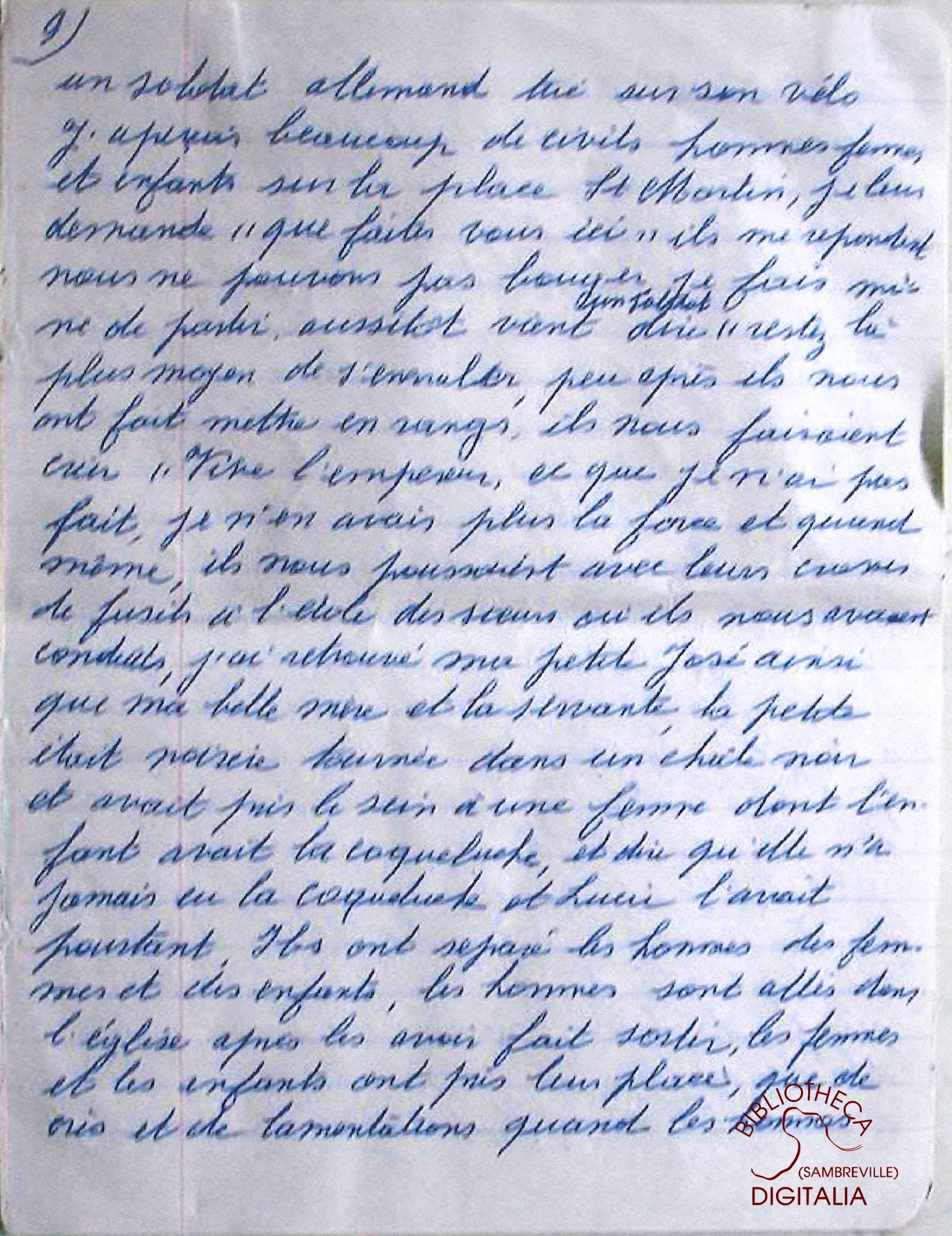 Témoignage manuscrit de Madame HENNION, survivante du massacre de Tamines, page 9