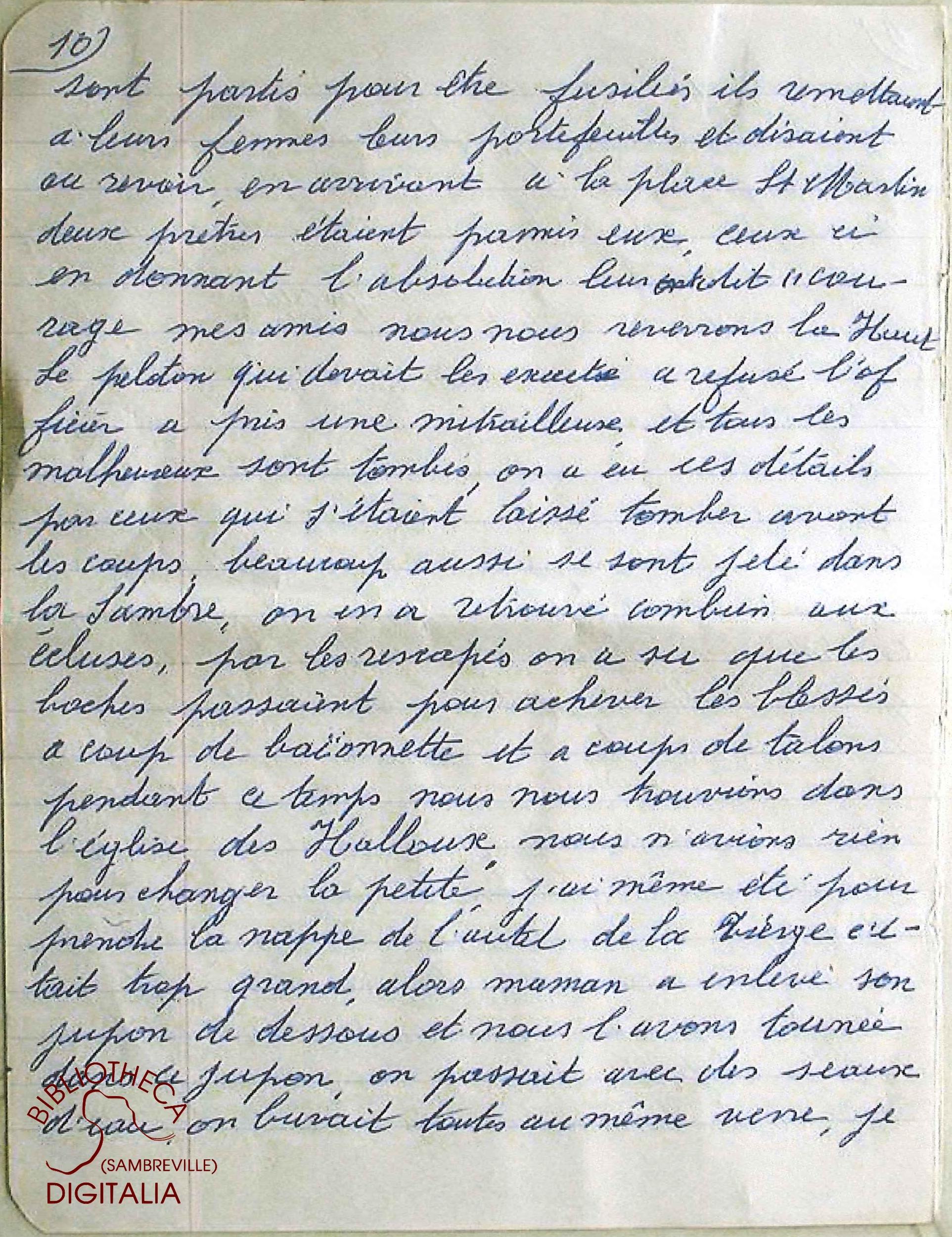 Témoignage manuscrit de Madame HENNION, survivante du massacre de Tamines, page 10