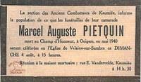 Avis de décès de Marcel Auguste PIETQUIN