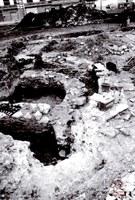 Auvelais vue aérienne des fouilles de la Place d'Auvelais en 2006