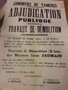 Affiche concernant des travaux de démolition des maisons Léon JAUMAIN (rue des Haz à Tamines)