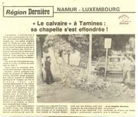 """Tamines : place du jumelage : """"le calvaire"""" à Tamines : sa chapelle s'est effondrée !"""""""